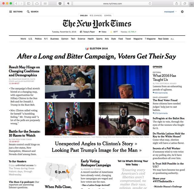 New York Times ohne Bezahlschranke für die Wahlen