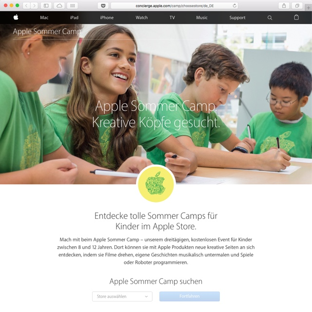Sommer Camp im Apple Store