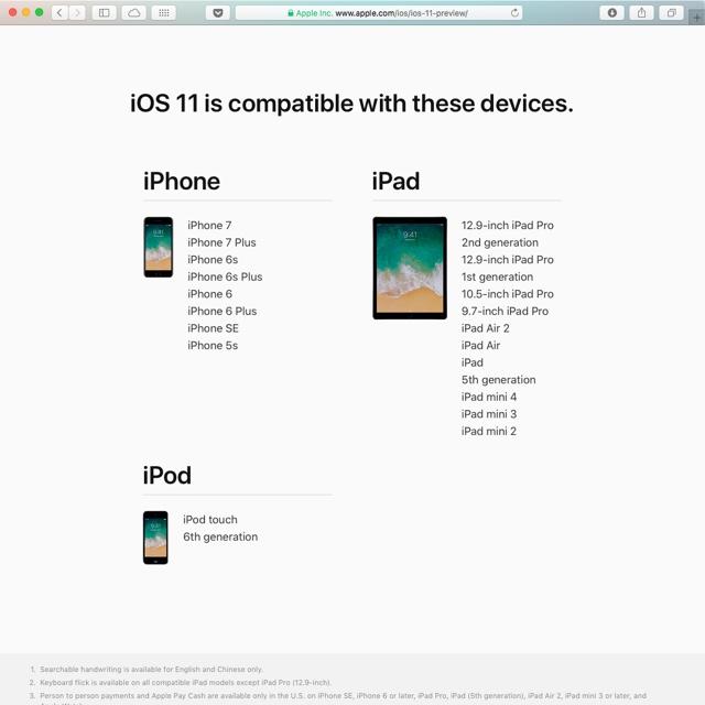 Auf diesen Geräten wir iOS 11 laufen