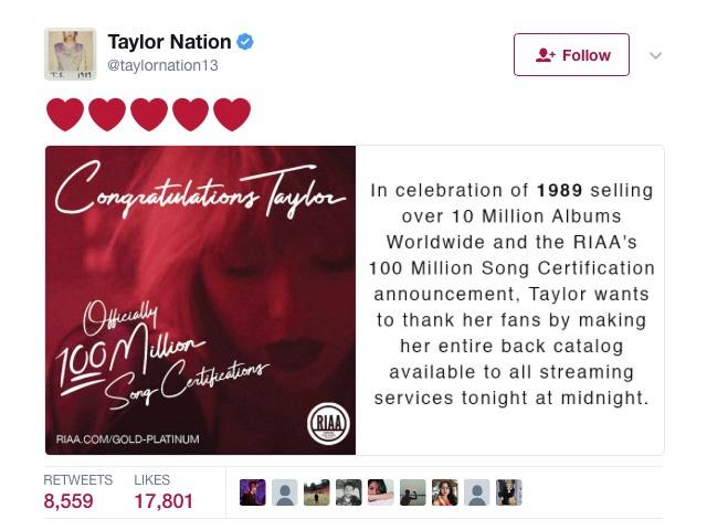 Taylor Swift im Stream