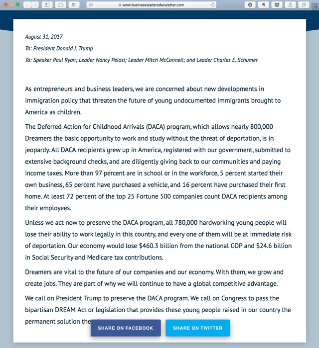 Open Letter From Industry Leaders on DACA