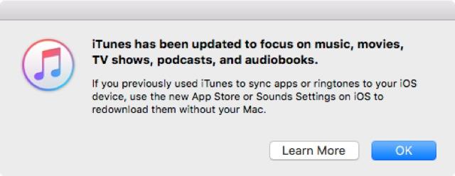 iTunes beschränkt sich