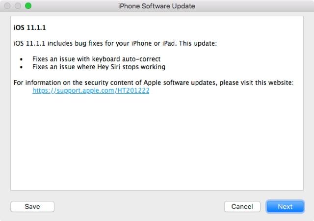 Behobene Fehler in iOS 11.1.1