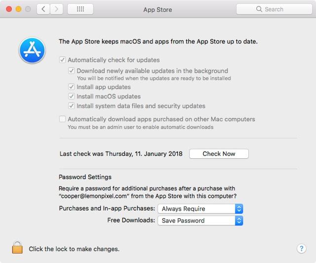 App Store Prefs